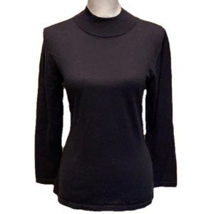 ANGEL Mock Neck Sweater Navy Cotton Knit NWT